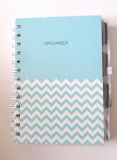 Aqua Zigzag A5 ORGANISER JOURNAL BOOK Diary Planner Notes Lists PLASTIC WALLETS