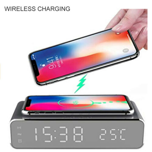 Temperature Display with Qi Wireless Charging Pad MOMAX Alarm Clock Time Date