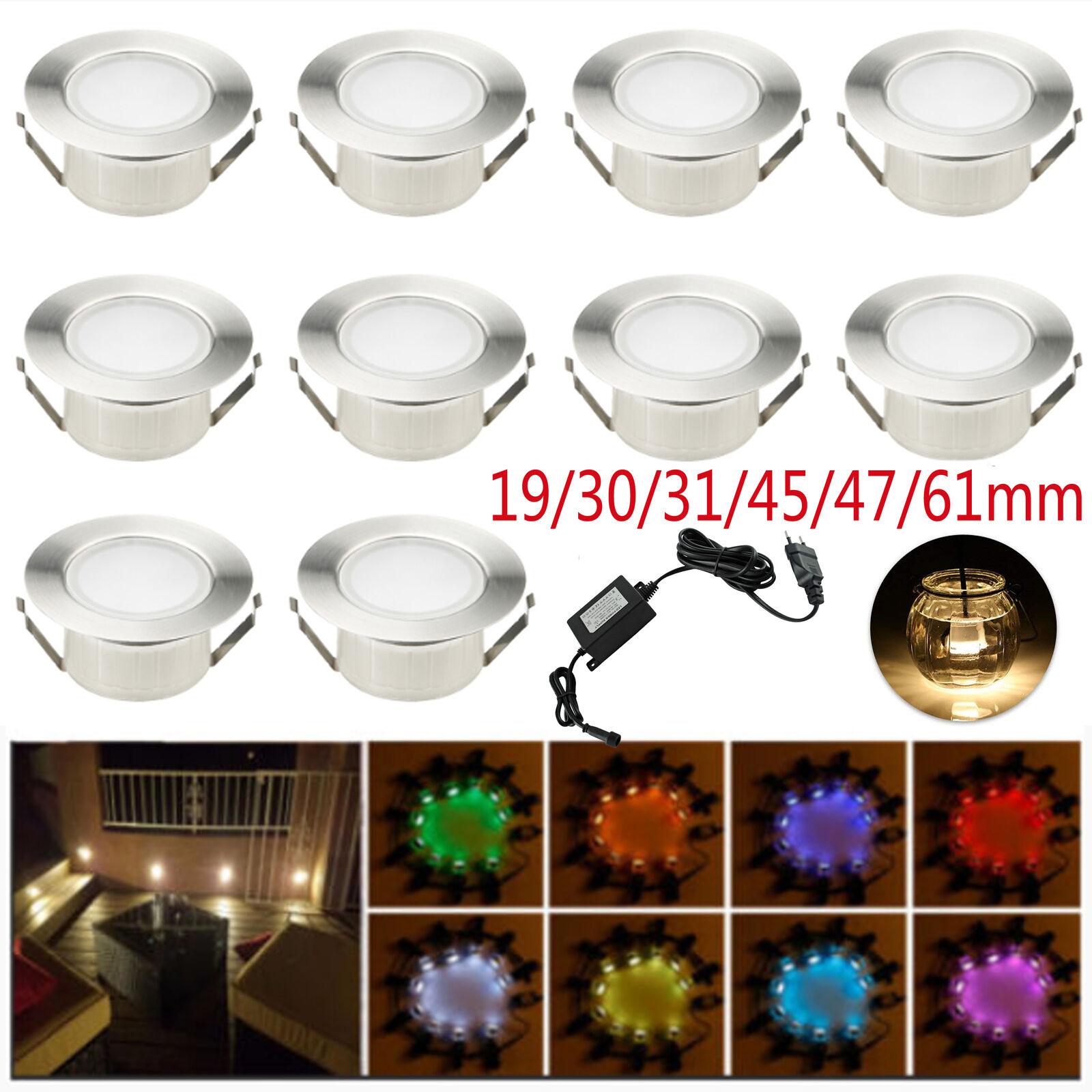10 x 19mm-61mm Boden Einbaustrahler LED Leuchte Außenlampe Minispot wasserdicht
