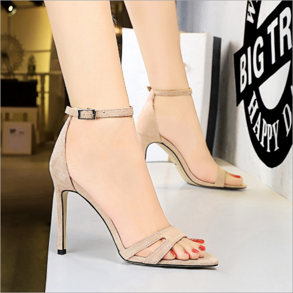 Womens Suede Hollow Out Sexy Stilettos Heels Ankle Strap Open Toe Sandals Party