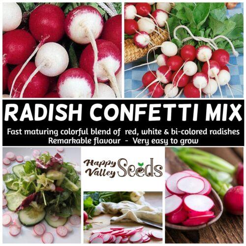 RADISH Confetti Mix 50 Seeds HEIRLOOM vegetable garden AUTUMN WINTER SPRING easy