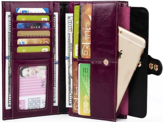 New Women's Large Capacity Luxury Waxy Genuine Leather Wallet with Zipper Pocket