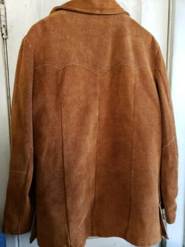 Vintage BROWN Suede Leather Jacket With Shearling Lined Sz 44 mens