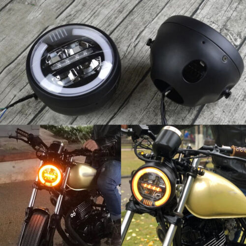"5.75/"" 5 3//4 LED Motorcycle Headlight DRL Amber Turn Signal Halo Ring"