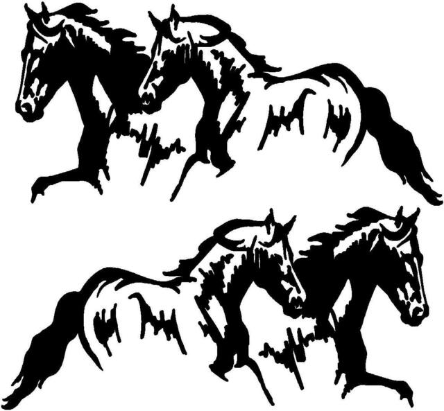 2 Running Horses Vinyl Decal Stickers Horse Trailer Truck 10x20 Set