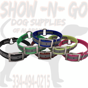 (12) 3 4  Ring-In-Center Dayglo REFLECTIVE Hunting Dog Collars W  Nameplate