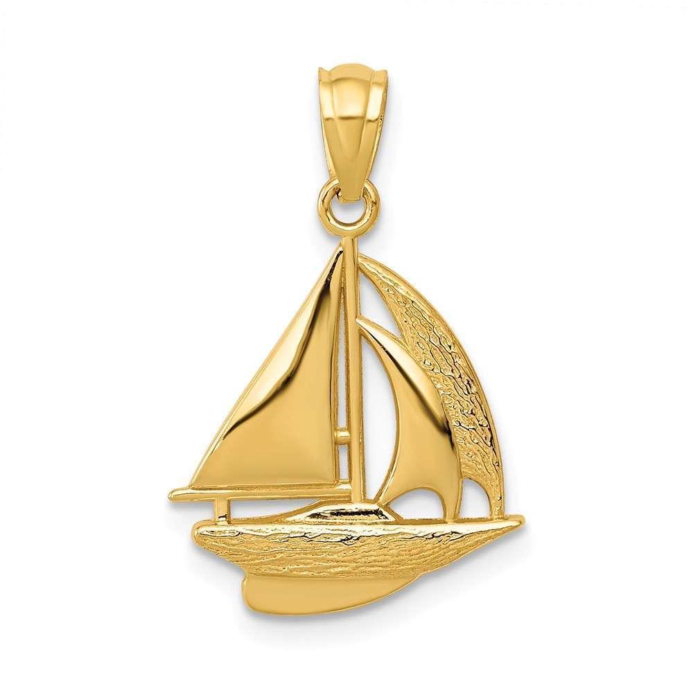 14K Yellow gold Sailboat Pendant C4172