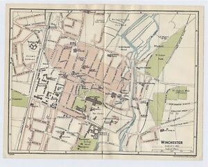 1924 Original Vintage City Map Of Winchester Hampshire England Ebay