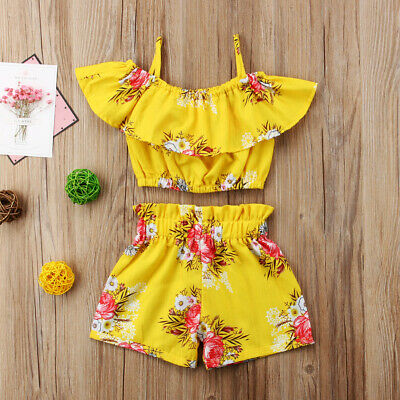 Toddler Baby Girls Outfit Clothes Floral Short Sleeves T-shirt Top Shorts 2PCS