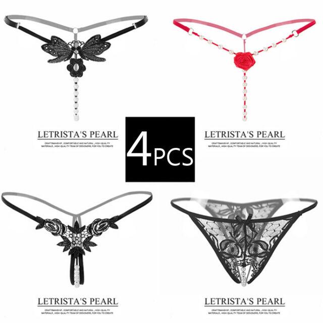 777f06d5138 4pcs Sexy Underwear Thongs Pearls G-String Panties Intimates Women's  Sleepwear