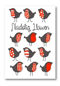 Pack of 10 Nadolig Llawen Cardiau Cymraeg Welsh Christmas Cards Robin design