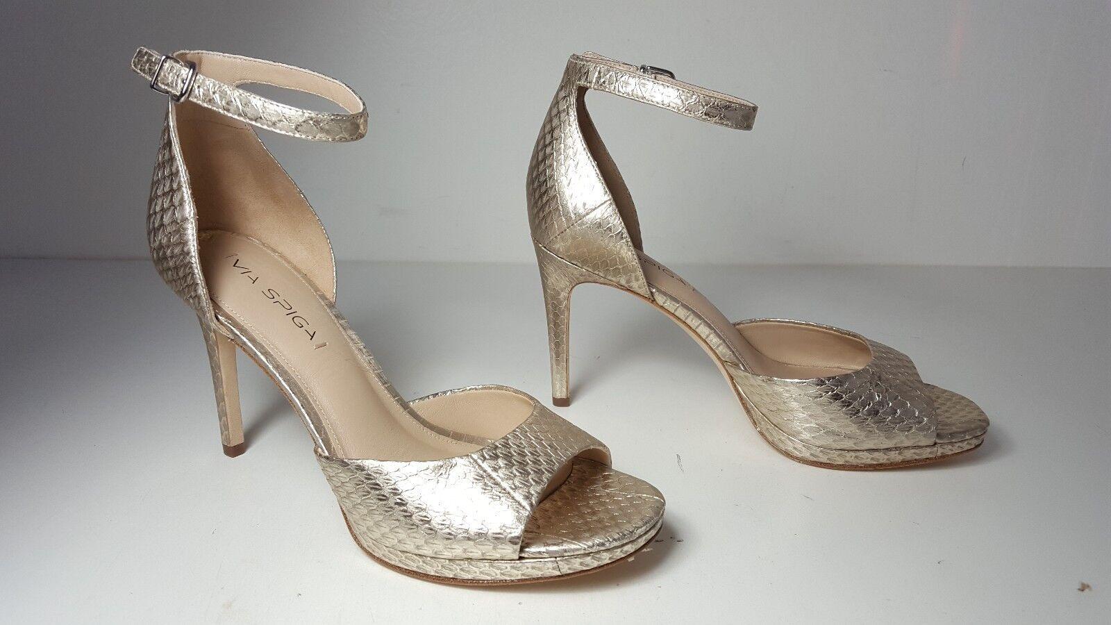 225 Größe 8 Via Spiga Salina Platinum Leder Heel Ankle Strap Sandales Schuhes NEU