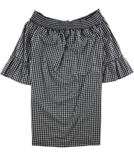 Charter Club Womens Gingham Off-Shoulder Dress