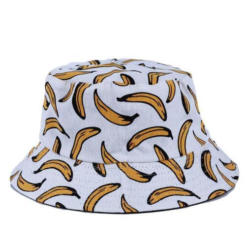 Fashion Children Holiday Bucket Hat Banana Print Hat Beach Sun Cap LC