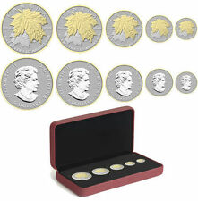 2014 CANADA 0.999 FINE SILVER MAPLE LEAF FRACTIONAL SET WITH GOLD PLATING