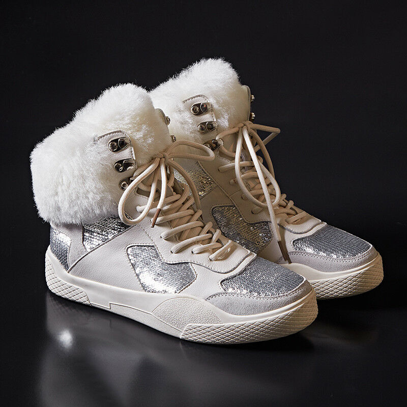 Womens Trendy Rabbit Fur Trim Glitter Sequins Lace Up Lace Up Fashion Sneakers