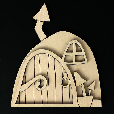Wooden Fairy Elf Pixie Door Shape Blank Craft Kit Woodland Style with Chimney