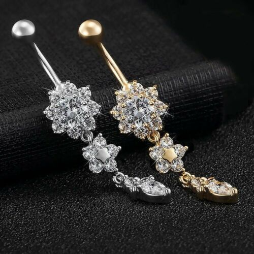 button bauch gold blume nabel ring body piercing schnee crystal