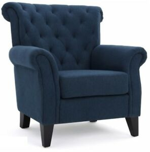 Image Is Loading Dark Blue High Back Tufted Fabric Club Chair