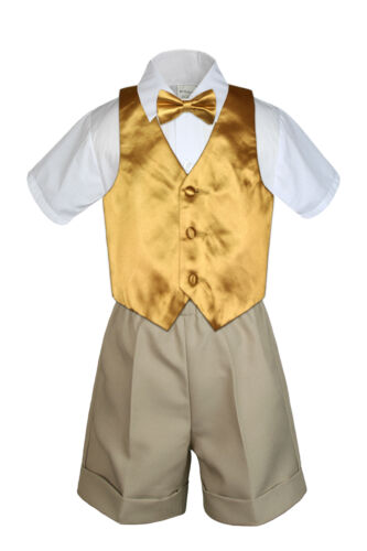4pc Set Boy Toddler Formal Gold Vest and Bow tie White Navy Khaki Shorts S-4T