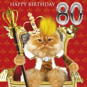 Image Is Loading 80th Birthday Card Royal Cat On Throne Fluff