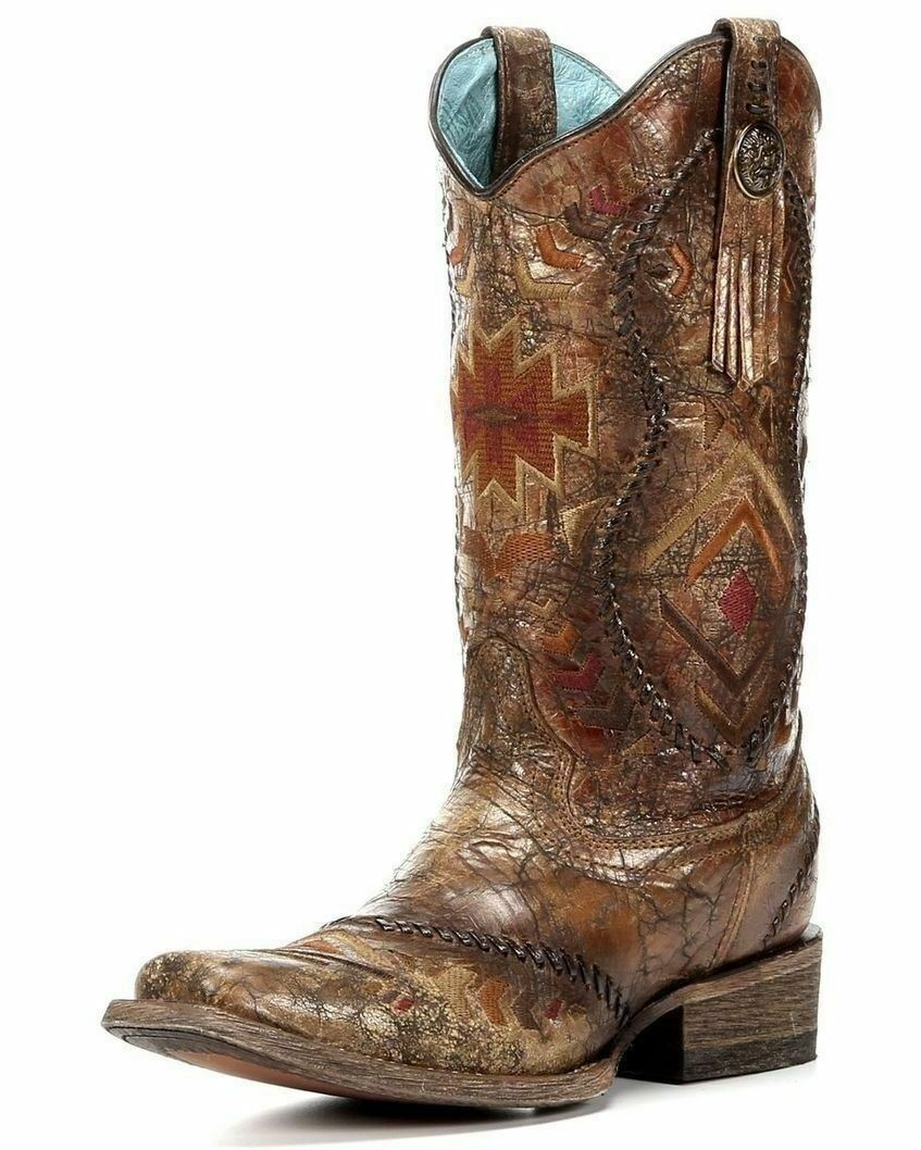 Corral Ladies Cowboy Western Boots Cognac Multicolor Ethnic Pattern C2915