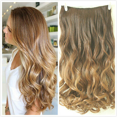 "22"" One piece clip in hair extensions Brown Wavy Blonde Dip dye Ombre Long"