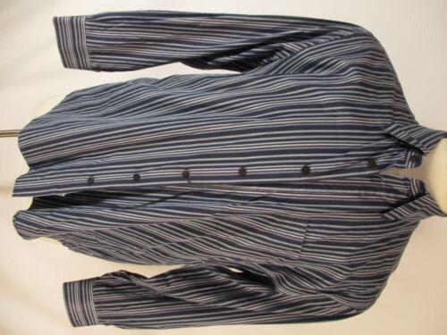 Canali Mens Blue Stripe Long Sleeve Cotton Shirt L