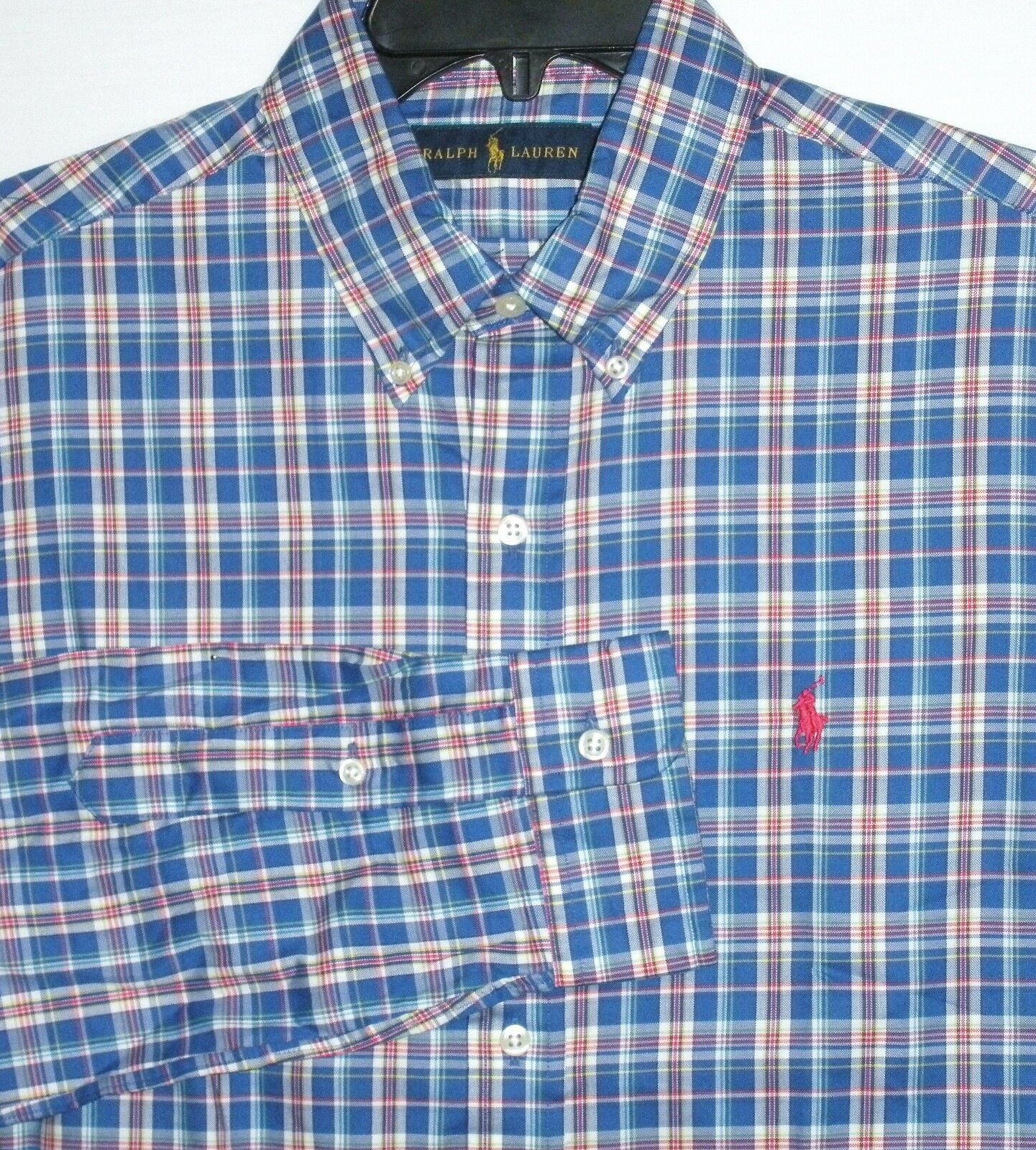 NWT MSRP  - Men's RALPH LAUREN 100% Cotton Plaid L S Shirt, Red   bluee Multi