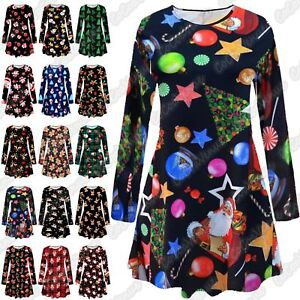 Christmas Swing Dress Uk.Details About Uk Christmas Ladies Girls Gingerbread Snowman Flared Xmas Swing Dress Party Top