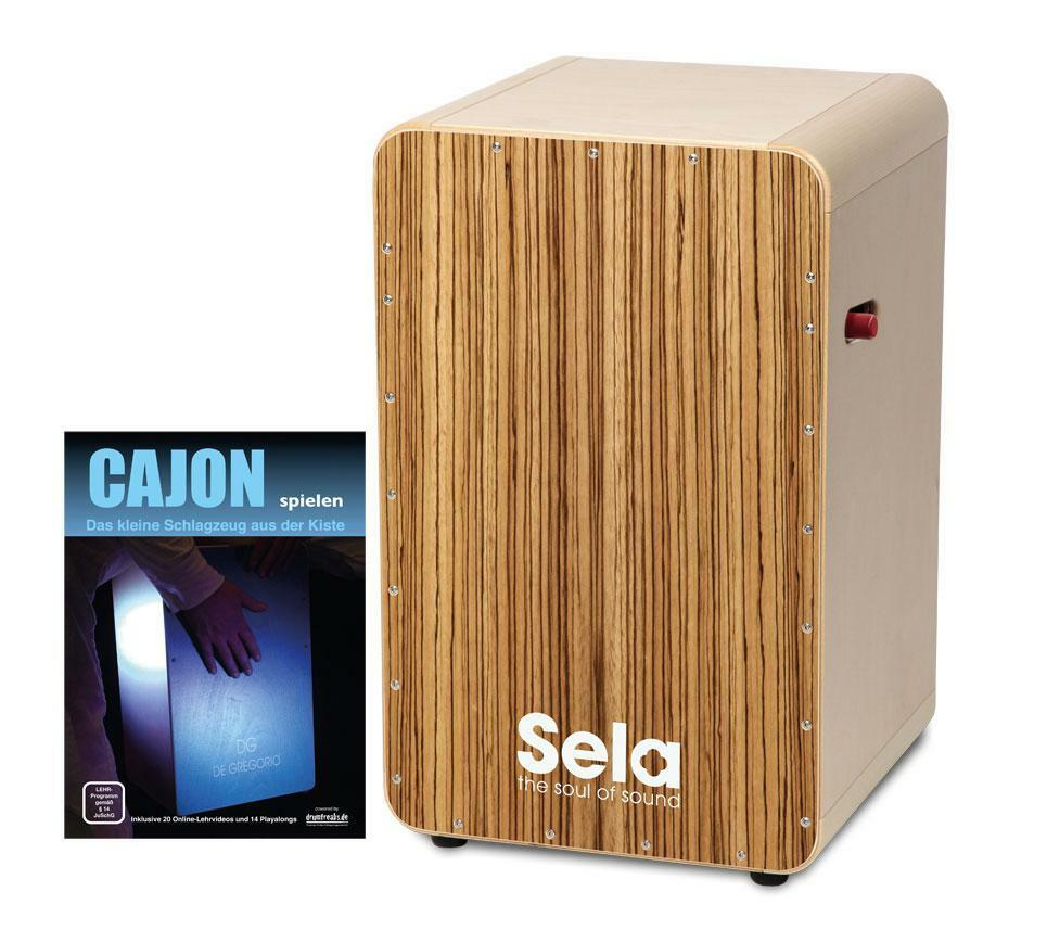 SELA CASELA PRO CAJON ZEBRANO MIT SNARE ON OFF MECHANIK CAJON SCHULE NOTEN SET