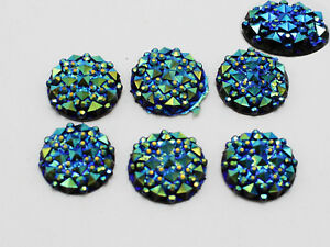 100-Deep-Blue-Flatback-Resin-Round-Cabochon-Gems-Pyramid-Dotted-Rhinestone-12mm