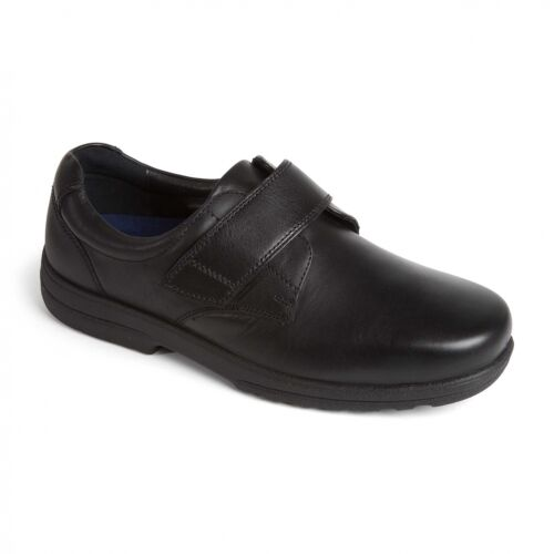 H//K Touch Fasten Shoes Padders DYLAN Mens Smooth Leather Extra Wide Plus Fit
