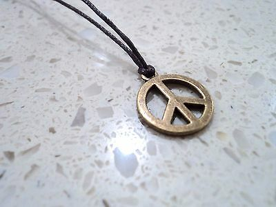 New Antiqued Bronze Peace Pendant Charm Necklace Brown Cord