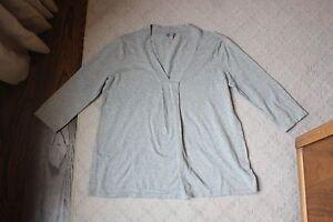 J-Jill-Gray-V-Neck-Stretch-Sweater-Size-Medium-M-3-4-Sleeve-Cotton-Blend