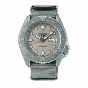 Seiko 5 Sports Cement Automatic Grey Dial Grey Nylon Strap Men's Watch SRPG61K1