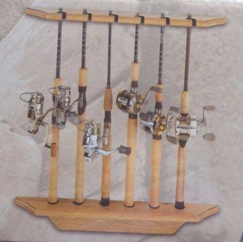 2 Piece Rack Light Oak 6 Rod Vertical Two Wooden Cabela Six