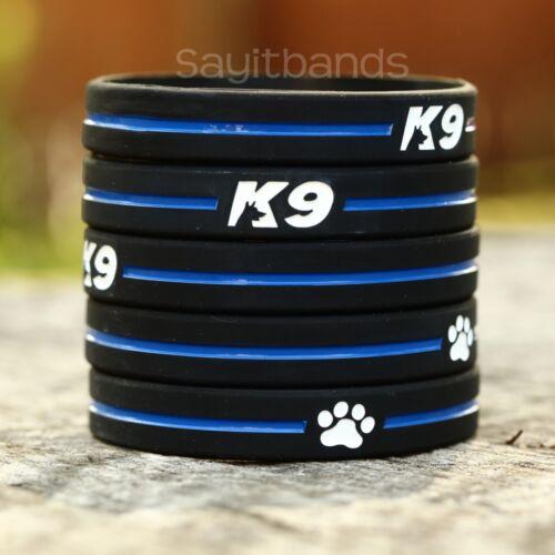 Set of K9 Wristbands K-9 Bracelets Thin Blue Line Canine Police Bracelet Lot