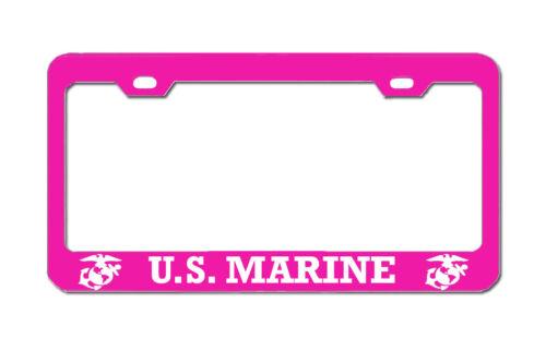 MARINE Pink American License Plate Frame Tag Cover Aluminum Metal U.S