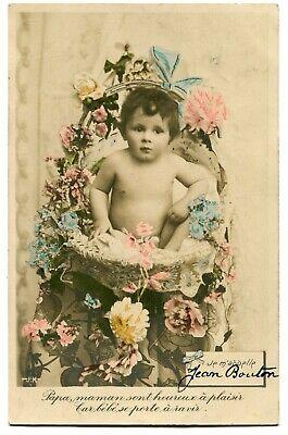 CPA - Carte Postale - Fantaisie - Naissance de Bébé - Fleurs - 1906 (M8476)   eBay