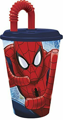 430ml Spiderman Large Plastic Tumbler with Lid and Bendy Straw 15fl oz