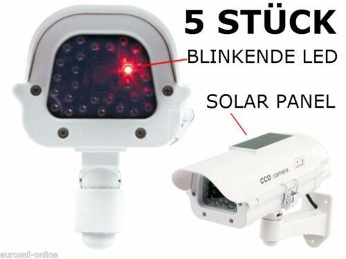 5 STÜCK AUßEN IP44 DUMMY + SOLAR + LED Überwachungskamera Kameraattrappe Kamera
