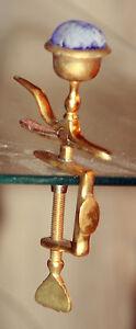 Original-RaRe-ANTIQUE-brassl-FIGURAL-HEMMING-BIRD-CLAMP-C1850-039-S