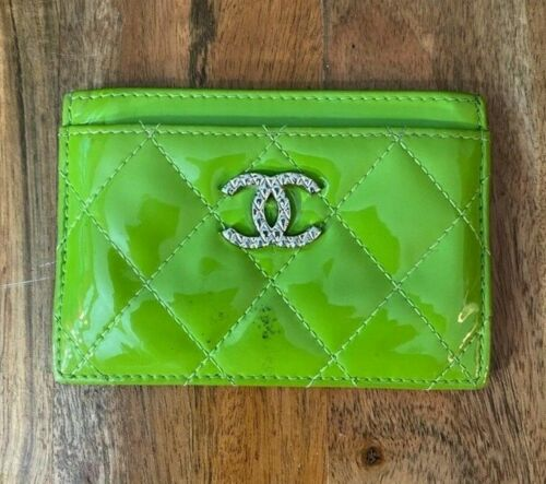 Authentic Chanel Lime Green Patent Leather Cardhol