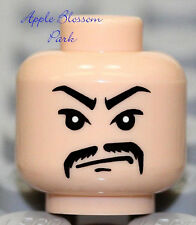 LEGO Male Light FLESH MINIFIG HEAD Black Moustache -Indiana Jones Asian Gangster