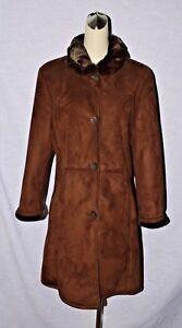 Buchman Fur M Sz Dana Suede Jacket Coat Medium Mørkebrun Faux 71Owwnxq