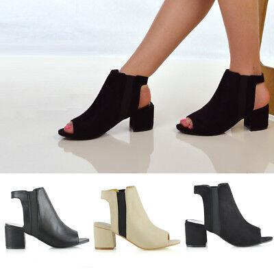 Womens Low Heel Peep Toe Shoes Ladies