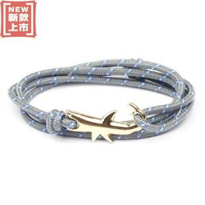 Navy Blue and Pink Anchor Cord Rope Bracelet Nautical Silver Magnetic Clasp