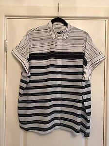 100 £148 Stripe 8 Black Bnwt All Saints Silk Shirt Uk Pome Rrp Cleo ZZ7IR1