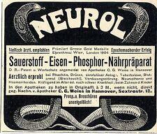 C. G.Weiss Hannover NEUROL Sauerstoff Eisen Phosphor... Historische Annonce 1904